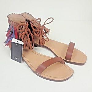 Zara Womens Leather Festival Fringe Tassel Sandals